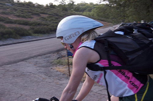 Me carrying everything, biking to the start of a triathlon from where I'd been camping by myself.